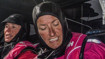 Team SCA compete in the Round Britain and Ireland Race on August 12 in an unspecified location at sea. Here, Carolijn Brouwer and Dee Caffari during a sail change. (Photo by Corinna Halloran - Team SCA /Getty Images)