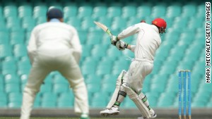 Phillip Hughes of South Australia is struck in the head by a delivery during a Sheffield Shield match.