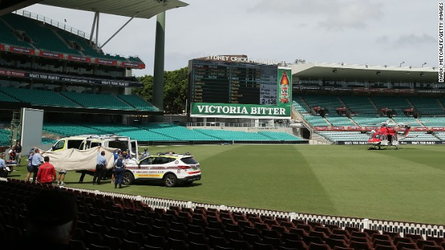The batsman was taken from the Sydney Cricket Ground to the city's St Vincent's Hospital.