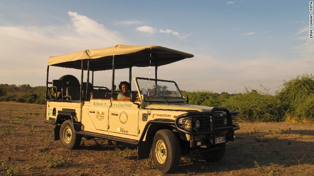Guide Lebo behind the wheel of Chobe Game Lodge's first electric game viewing vehicle.