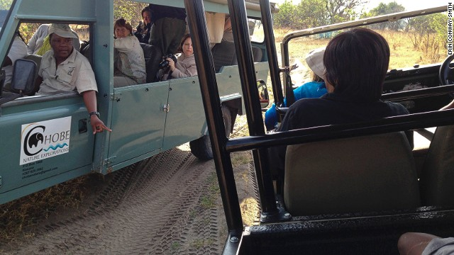 Other tourist guides are curious about Chobe Game Lodge's converted electric Land Rover.