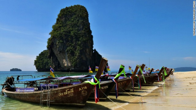 <strong>4. Ao Nang, Thailand: </strong>This Thai location is known for its beaches and water sports. In addition to swimming and sunbathing at Phra Nang Beach, TripAdvisor reviewers recommend the prawns and papaya at Ton Ma Yom.