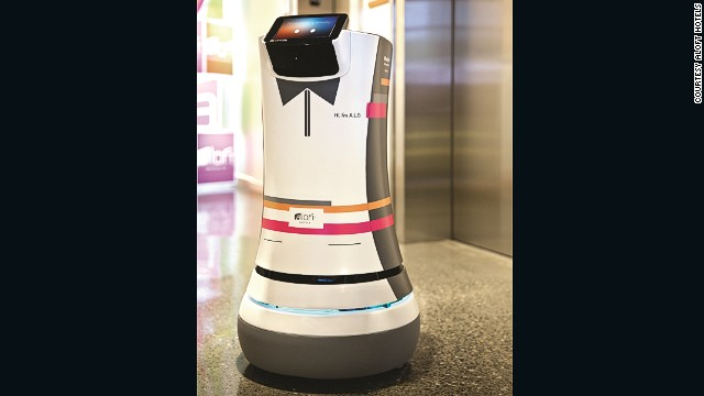 "Aloft Hotels is trialing a robot butler known as ""Botler"" in Cupertino, California. It brings you things like slippers, newspapers, water and toothpaste."