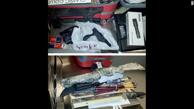 A Queens man was caught Wednesday with stash of weapons in his checked bags at John F. Kennedy International Airport.