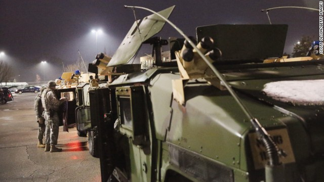 National Guard troops are seen in Ferguson on November 26.