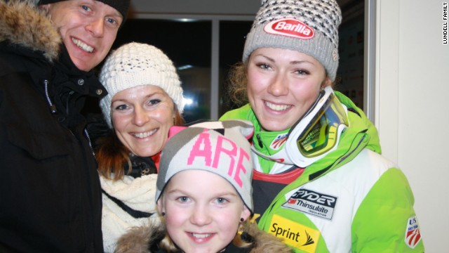 But away from the slopes, Shiffrin has taken time to help Swedish teenager Emma Lundell, who was suffering from cancer. Here the American and the Lundell family pose together in 2012, just after Shiffrin had won her first World Cup gold medal. Mikael Lundell, Annika Lundell, Emma and Shiffrin are pictured together.