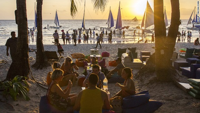 The most famous beach on the island, White Beach has the most facilities, the best sunset view and a vibrant nightlife scene. Pictured is the Mediterranean-style Aplaya Beach bar.