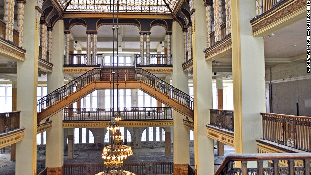 The Goerlitz department store's interior is opulent but empty, making it an ideal film set.