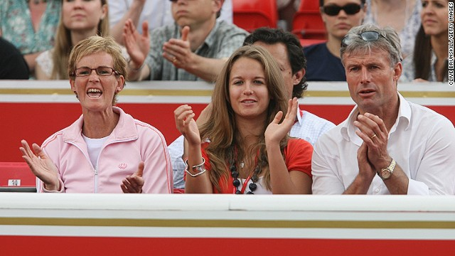 "Murray's Mom Judy (left) once described Kim as the ""best thing to happen to Andy."" They met through Nigel Sears (right) her Dad and a former British tennis coach."