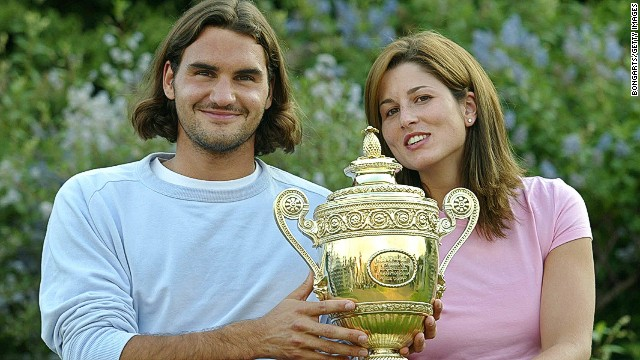 Mirka -- seen here celebrating her husband's first Wimbledon title in 2003 -- gave birth to twin boys Lenny and Leo in May.