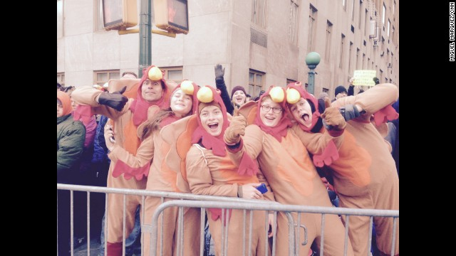 "NEW YORK: ""Tips for attending Macy's Thanksgiving Day Parade... Get there EARLY and dress up. Morer funnerer."" -CNN's Miguel Marquez, November 27. Follow Miguel (<a href='http://instagram.com/miggymoo' target='_blank'>@miggymoo</a>) and other CNNers along on Instagram at <a href='http://instagram.com/cnn' target='_blank'>instagram.com</a>."