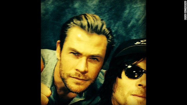 Actor Norman Reedus, right, <a href='http://instagram.com/p/lankLAMcDa/' target='_blank'>posted a selfie</a> with actor Chris Hemsworth on Tuesday, March 11.