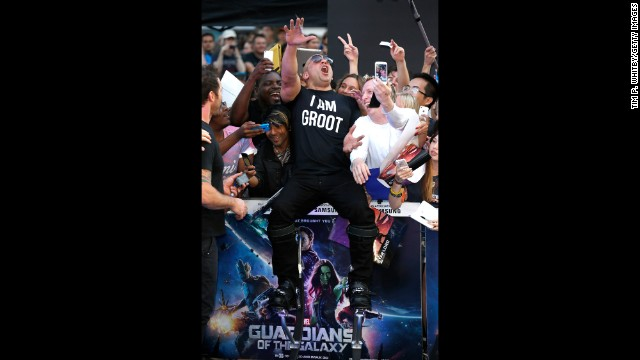 "Actor Vin Diesel attends a ""Guardians of the Galaxy"" premiere in London on Thursday, July 24"