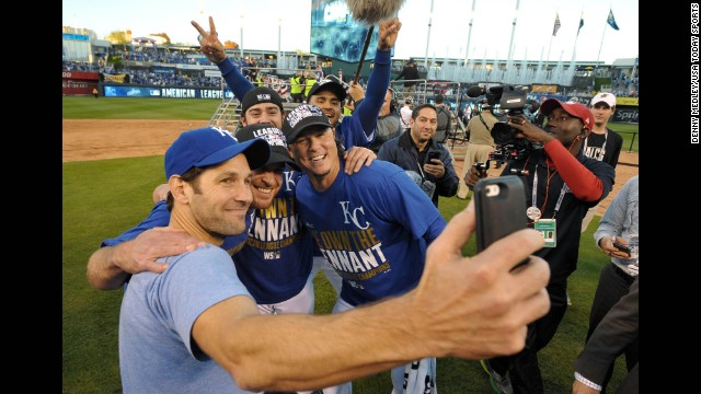 Actor Paul Rudd, left, snaps a selfie with members of the Kansas City Royals after the baseball team won the American League Championship Series on Wednesday, October 15. The Royals swept the Baltimore Orioles in four games to advance to the World Series.