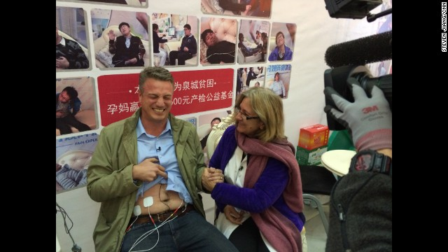 "CHINA: ""The things CNN reporters do for camera: David McKenzie (<a href='http://instagram.com/mckenziecnn' target='_blank'>@mckenziecnn</a>), hooked up to a birthing pain simulator, can't hide his suffering as he goes through ""labor"" in a shopping mall in eastern China. A story not to be missed - airing soon."" - CNN's Steven Jiang. Follow Steven (<a href='http://instagram.com/stevencnn' target='_blank'>@stevencnn</a>) and other CNNers along on Instagram at <a href='http://instagram.com/cnn' target='_blank'>instagram.com</a>."