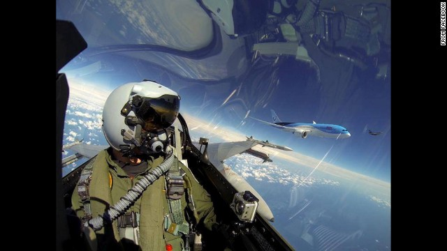 A pilot with the Royal Netherlands Air Force F-16 Demo Team posted this <a href='https://www.facebook.com/192563392398/photos/pb.192563392398.-2207520000.1417098166./10152215946312399/?type=3&amp;theater' target='_blank'>photo from the cockpit</a> on Sunday, June 8. To the pilot's left is a Boeing 787 Dreamliner, the first for Dutch airline Arke.