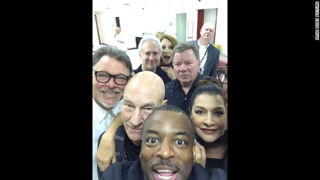 "Actor LaVar Burton, bottom, <a href='https://twitter.com/levarburton/status/503663692807168000' target='_blank'>snaps a selfie</a> with other former ""Star Trek"" stars, including Sir Patrick Stewart and William Shatner, during an event in Chicago on Sunday, August 24."