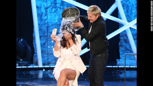 "Television host Ellen DeGeneres dumps a bucket of ice water on Kim Kardashian during an episode of ""Ellen"" that aired Tuesday, September 9. It was part of the ALS Ice Bucket Challenge, a social media campaign that has been raising awareness and money to fight Lou Gehrig's disease, which is also called amyotrophic lateral sclerosis or ALS."