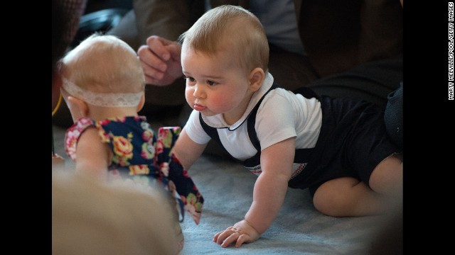 <strong>April 9:</strong> Britain's Prince George looks at other babies during an event at the Government House in Wellington, New Zealand. His parents, the Duke and Duchess of Cambridge, were on <a href='http://www.cnn.com/2014/04/06/world/gallery/royal-tour-new-zealand-australia/index.html'>a three-week tour</a> of New Zealand and Australia. <a href='http://www.cnn.com/2014/07/11/world/gallery/prince-george-first-year/'>See Prince George's first year in pictures</a>