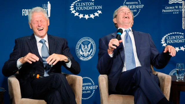 <strong>September 8:</strong> Former U.S. Presidents Bill Clinton, left, and George W. Bush laugh on stage during an event at the Newseum in Washington. The event was for a new leadership program they were launching, but <a href='http://ift.tt/1p5ddkc'>they also joked with and about each other</a>, told stories about their relationship and even offered commentary about the number of selfies each is asked to take.