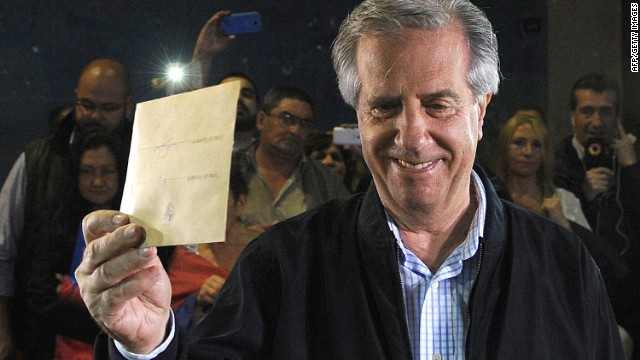 Exit polls say Tabaré Vazquez of the Broad Front coalition has won Uruguay's presidential vote.