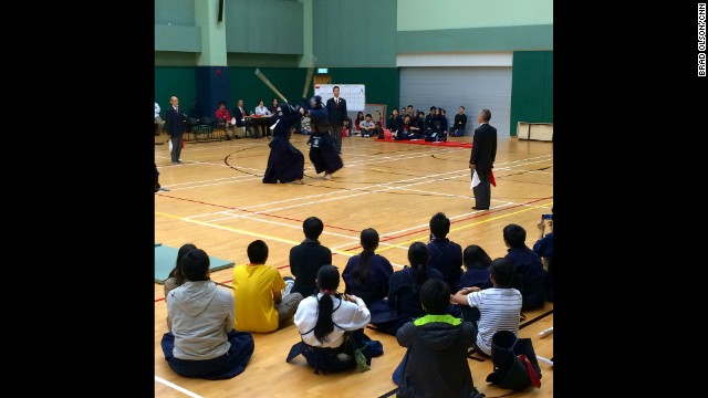 "HONG KONG: ""Big Kendo Tournament today. It's a lot of fun. The point is to hit the opponent on the head, though the wrist throat and torso are also targets. It's based on Japanese sword fighting technique and is amazingly difficult to master."" - CNN's Brad Olson, November 30. Follow Brad (<a href='http://instagram.com/cnnbrad' target='_blank'>@cnnbrad</a>) and other CNNers along on Instagram at <a href='http://instagram.com/cnn' target='_blank'>instagram.com</a>."