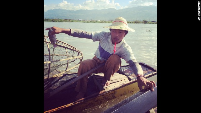 "MYANMAR: ""This young fisherman working on Inle Lake shows us his morning catch."" - CNN's Jo Shelley. Follow Jo (<a href='http://instagram.com/joshelleycnn' target='_blank'>@joshelleycnn</a>) on Instagram for more images from Myanmar and beyond."