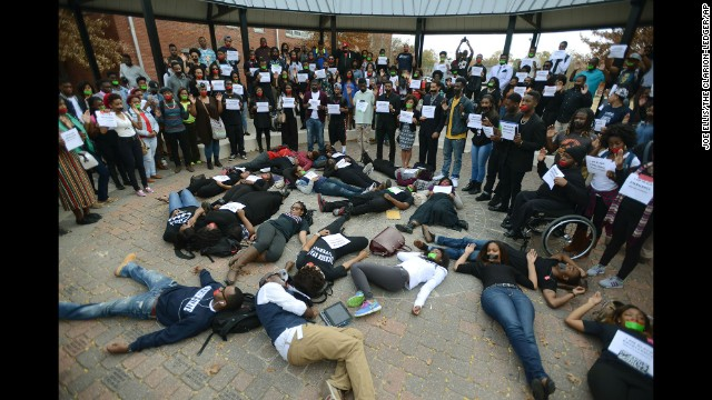 Students at Jackson State University in Jackson, Mississippi, participate in the walkout on December 1.