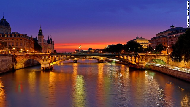 Dusk settles over the river Seine in Paris, France, in this HDR shot.