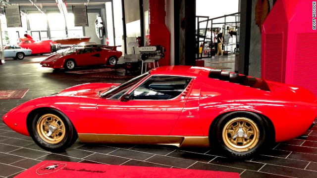 This 1967 Lamborghini Miura is on display at the family-run Ferruccio Lamborghini Museum in Funo.