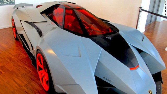 Resembling a jet fighter or an Apache attack helicopter, this 2013 Lamborghini Egoista single seater, on display at the Lamborghini Museum in Sant'Agata Bolognese features an anti-radar material.