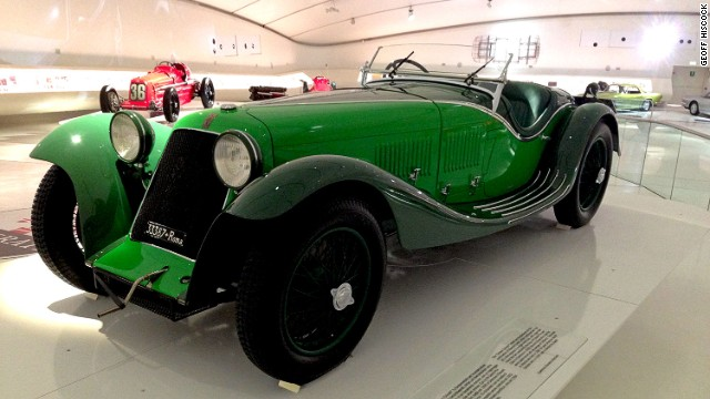 The Enzo Ferrari Museum also features earlier models such as this green two-seater 1932 Maserati V4 Zagato Sport.
