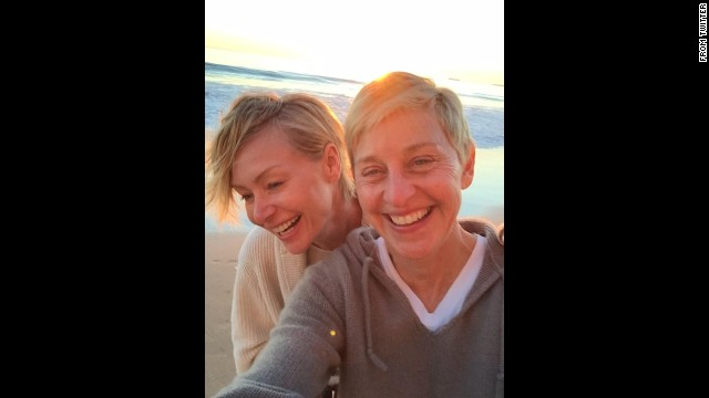Actress Portia de Rossi, left, <a href='https://twitter.com/portiaderossi/status/538805178074284032' target='_blank'>tweeted this beach selfie</a> of her and her wife, talk show host Ellen DeGeneres, on Saturday, November 29. They were celebrating 10 years together as a couple.