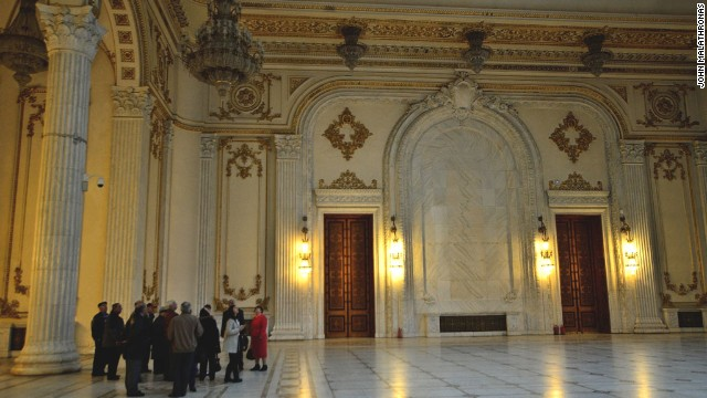 Today the building houses Romania's democratic parliamentary houses and a modern art museum, but 70% stands empty.