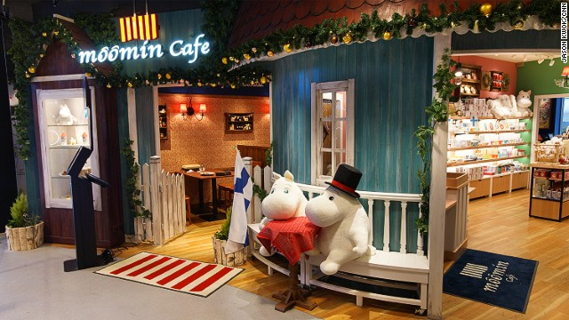 The cafe is inspired by the stories of Moomins, the hippo-like creatures created by Finnish artist and writer Tove Jansson.