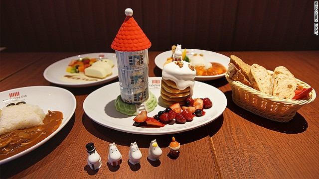 Moomin house pancakes are a signature dish in the cartoon as well as a favorite of the cafe's director, Mickey Kera. The pancakes are are served with three desserts hidden in the three-story tower.