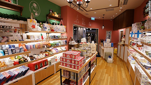 The Moomin pancake house is available at the souvenir shop along with Moomin family pasta and mugs.