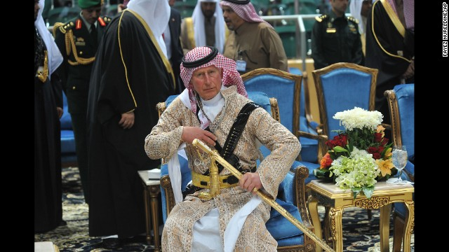 <strong>February 18:</strong> Britain's Prince Charles wears a traditional Saudi uniform as he attends the Janadriyah culture festival in Riyadh, Saudi Arabia.