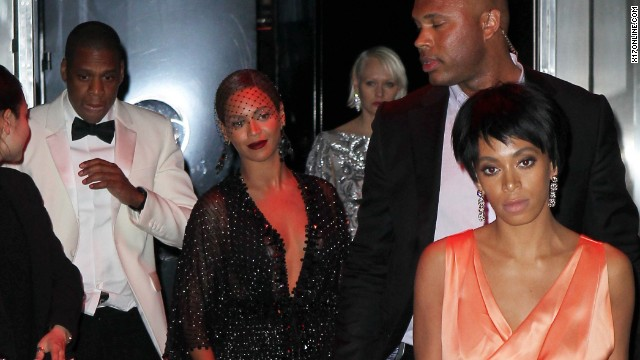 <strong>May 5:</strong> Rapper Jay Z, at left in the white jacket, and his sister-in-law Solange Knowles, at right in the orange dress, reportedly had an altercation at New York's Standard Hotel. Security camera footage that appeared on TMZ didn't tell the whole story, but there are <a href='http://www.cnn.com/2014/05/13/showbiz/gallery/jay-z-solange-beyonce/index.html'>plenty of pictures of the two leaving the party</a> along with Jay Z's wife, Beyonce.