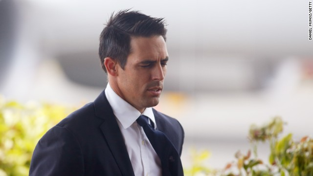 Australian cricketer Mitchell Johnson arrives to Coffs Harbour ahead of today's funeral service for Phil Hughes on December 3.