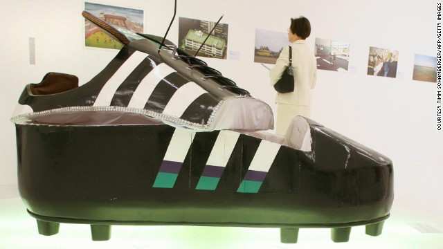 A coffin from Ghana which is shaped as a soccer shoe is presented in the exhibition 'Football: One Game - Many Worlds' in Munich's Stadtmuseum in 2006.