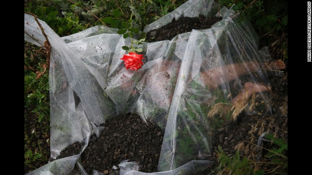 <strong>July 18:</strong> A rose lies on a plastic sheet covering a victim of <a href='http://www.cnn.com/2014/07/18/world/gallery/malaysia-airlines-reaction/index.html'>Malaysia Airlines Flight 17,</a> which was shot down over war-torn eastern Ukraine. All 298 people aboard the flight were killed. Several Western nations and the Ukrainian government <a href='http://www.cnn.com/2014/11/16/world/europe/netherlands-ukraine-mh17-wreckage/index.html'>have accused pro-Russian rebels</a> of shooting down the plane with a missile. Rebel leaders and the Russian government have disputed the claims.