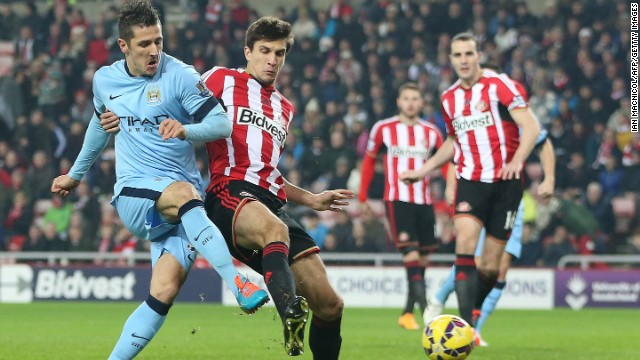 Stevan Jovetic scored City's second to give the visiting side a 2-1 lead at halftime.
