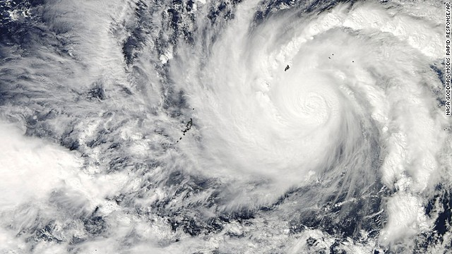 This image captured by NASA's Aqua satellite shows Typhoon Hagupit on Wednesday, Dec. 3, 2014 at 04:30 UTC in the western Pacific Ocean. The Philippines weather bureau is advising the public to brace for Typhoon Hagupit which continues to head towards the country.