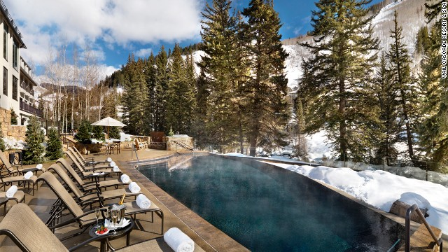 Poolside at the Vail Cascade Resort & Spa in Colorado. The resort's Fireside Bar has a menu devoted to craft beers.