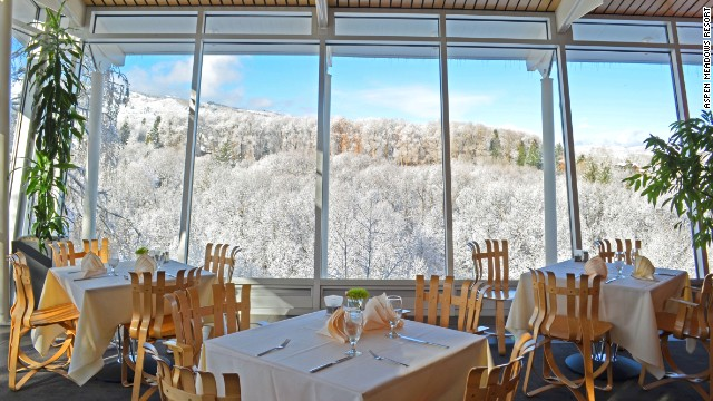 The Hefner Lounge at Colorado's Aspen Meadows Resort features its own apres ski menu loaded with elk chili and hand-cut fries to warm drink specials. And a pretty decent view.