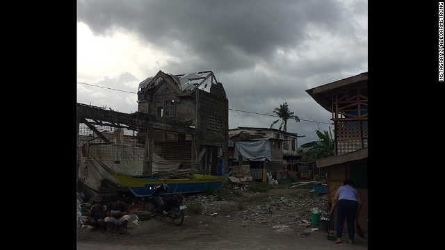 Stormy skies build over Tacloban's poorest neighborhood, from where many residents are now being evacuated.