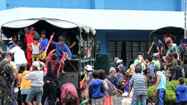 Residents are evacuated from Legazpi City, southeast of Manila, on December 6, ahead of the typhoon's arrival.