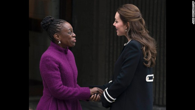 McCray shakes hands with Kate outside the Northside Center on December 8.