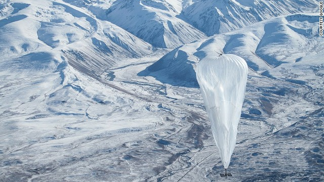 Project Loon is an initiative launched by Google in 2013, which aims to connect the planet by beaming internet signals from high-altitude balloons like this one floating above snow-covered peaks on New Zealand's South Island.